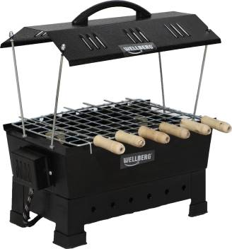 Wellberg Portable Picnic Iron Barbeque Charcoal Grill with 6