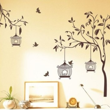 Wall Stickers For Bedroom Kitchen White Tree Pvc Vinyl Size 91 Cm X 89 Cm