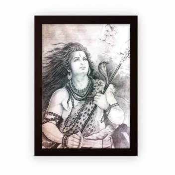 Lord Shiva Sketch Framed Poster For Wall Hanging Or Desk Matte