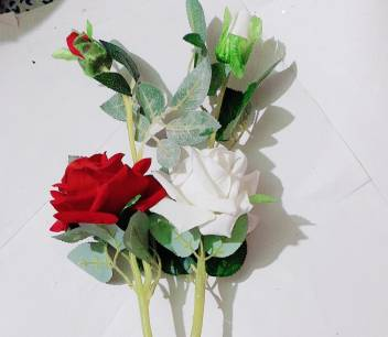Dp Endeavors White Red Rose Artificial Flower With Pot Price In India Buy Dp Endeavors White Red Rose Artificial Flower With Pot Online At Flipkart Com