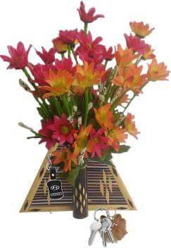 Tovick Handmade Bamboo Wall Decor Key Hanging Flower Vase Flower Hanging And Two Bunches Of Artificial Flowers Orange Red Red Orange Wild Flower Artificial Flower With Pot Price In India