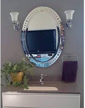 Alfa Design Oval Intelligent Design Etched Venetian Glass Framed Oval Vanity Mirror Decorative Mirror Price In India Buy Alfa Design Oval Intelligent Design Etched Venetian Glass Framed Oval Vanity Mirror Decorative