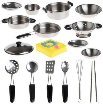 Wotryit 20pcs Stainless Steel Pots Pans Cookware Miniature Toy Pretend Pl 20pcs Stainless Steel Pots Pans Cookware Miniature Toy Pretend Pl Buy Kitchen Set Toys In India Shop For Wotryit
