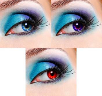 Eycog 3 Pair Monthly Aqua Blue Red Colored 0 Power Contact Lenses For Eyes Men And Women With Lens Case Monthly Price In India Buy Eycog 3 Pair Monthly Aqua Blue
