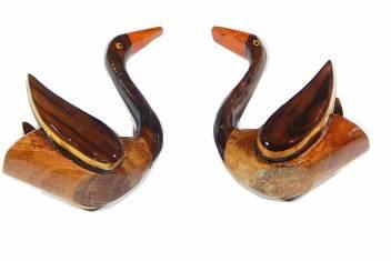 Handcrafted Wooden Duck Pair Showpiece