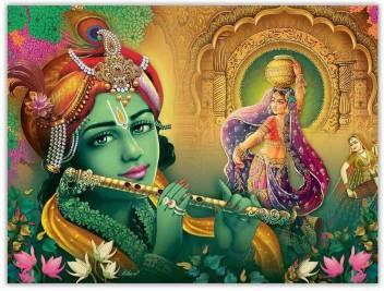 large radha krishna with gopis in vrindavan sparkle coated self original