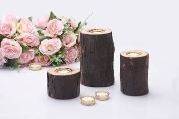 Fireflies Wooden Log T Light Candle Holder Set Of 3 Tealight Wooden Candle Holder Candle Stand T Light Holder T Light Set Gift Home Decor Lighting Ideas Wooden Gift And Accessories Wooden 3 Cup Tealight Holder Set Price In India