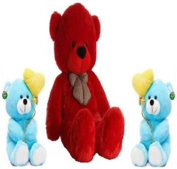 Red Teddy Bear 5 Feet, Anita Toys 5 Feet Stuffed Red Teddy Bear With Two Cute Blue I Love You Teddies Combo 152 Cm 5 Feet Stuffed Red Teddy Bear With Two Cute Blue I