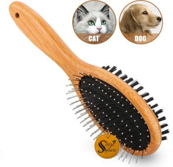 Sage Square High Quality Wood Pet Grooming Deshedding Double Sided Pin Bristle Brush For Long Or Short Haired Dogs And Cats Small Curry Comb For Dog Cat Price In