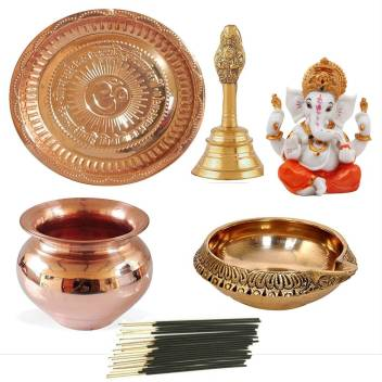 Combo of Handmade Copper Lota for Pooja Diya Kalash Pooja Pure Brass Ganti Pooja Thali Religious Copper Kuber Deepak