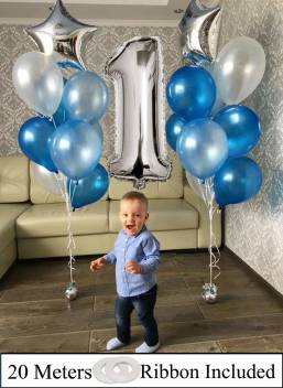 Amfin Pack Of 20 First Birthday Decorations Items For Boys Cake Smash Decoration Boy First Birthday Decorations Boy Blue Silver Price In India Buy Amfin Pack Of 20 First