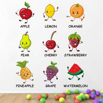 Wallsticks Cute Fruits Name Baby Kids Room Learning Education Play School Nursery Wall Sticker Ws064 Price In India Buy Wallsticks Cute