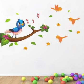 Wallsticks Singing Bird Tree Branch Floral Colorful Decorative Wall Sticker Ws080 Price In India Buy Wallsticks Singing Bird Tree Branch Floral Colorful Decorative Wall Sticker Ws080 Online At Flipkart Com