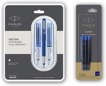 Parker Vector Standard Calligraphy Fountain Pen Set,3 NIBS /& 4 CARTRIDGES Blue