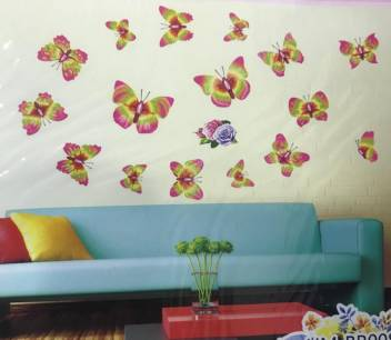 Duli Waterproof 3d Butterfly Wall Sticker Colorful Standard Size 49cm X 35cm Room Decoration Can Be Used On Any Room Wall Kitchen Office Or Mirror Colorful 3d Waterproof Multicolor Wall Stickers Price In India