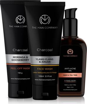The Man Company Super Cleansing Combo Charcoal Peel Off Mask Charcoal Face Fash Defence Theory Anti Acne Gel Set Of 3 Price In India Buy The Man Company Super Cleansing Combo