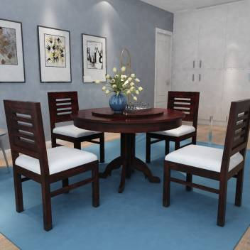 Allie Wood Marrigo Sheesham Wood Round Rotating Top Solid Wood 4 Seater Dining Set Price In India Buy Allie Wood Marrigo Sheesham Wood Round Rotating Top Solid Wood 4 Seater Dining