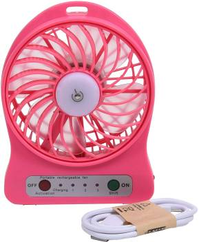 Portable USB Rechargeable Fan with Phone Charging Function Pink