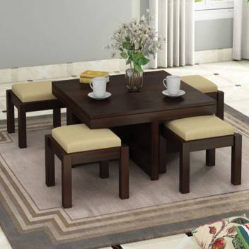 Grc Sheesham Wood Center Coffee Table With 4 Stools For Living Room Solid Wood Coffee Table Price In India Buy Grc Sheesham Wood Center Coffee Table With 4 Stools For Living