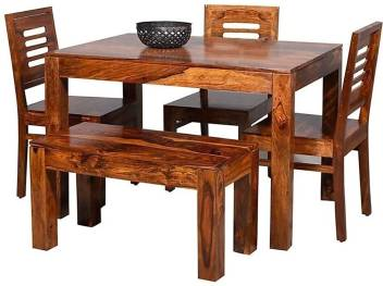 True Furniture Sheesham Wood 4 Seater Dining Table Set With Chairs For Home Honey Teak Brown Solid Wood 4 Seater Dining Set Price In India Buy True Furniture Sheesham Wood 4