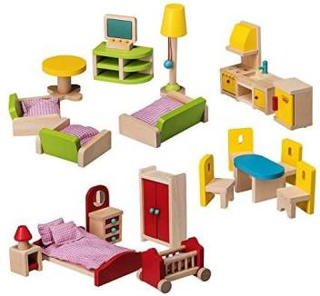 Dragon Drew Wooden Dollhouse Furniture Set 27 Piece Kit Living Room Bedroom And Kitchen Accessories 100 Natural W Wooden Dollhouse Furniture Set 27 Piece Kit Living Room Bedroom And Kitchen Accessories