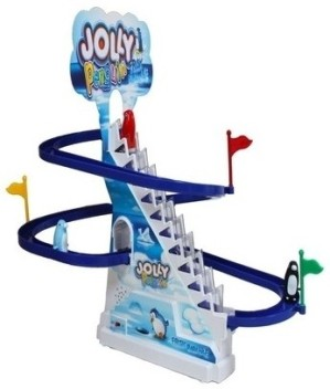 Funny Penguin Race Twinkle Light Slide Race Frisk Paradise Toy Set With Music