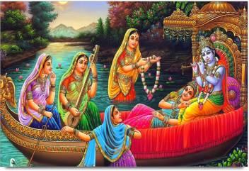 amy beautiful lord radha krishna seating in boat with gopiya original imae58vykhsgwuyy
