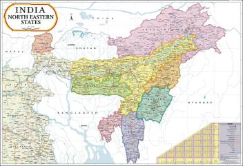 North East India Map : Meghalaya, Manipur, Mizoram, Sikkim, Tripura,  Nagaland & Arunachal Pradesh Paper Print