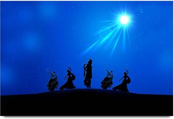 lord krishna playing flute silhoutte laminated poster original