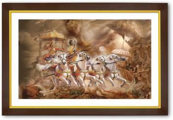 gold outlined wood framed lord krishna with arjuna original imaeznk4zgsrswf5