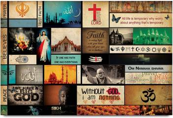 Many Religions One God Paper Print Religious Posters In India