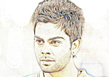 Virat Kohli Sketch Paper Print Sports Posters In India