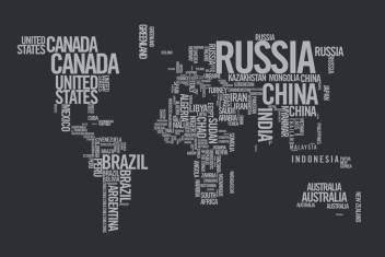 Wall1ders World Map With Country Name Paper Print