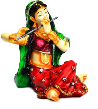 The Nodding Head Poly Resin Figurine Of Indian Traditional Lady Playing Flute Decorative Showpiece 15 Cm Price In India Buy The Nodding Head Poly Resin Figurine Of Indian Traditional Lady Playing Flute