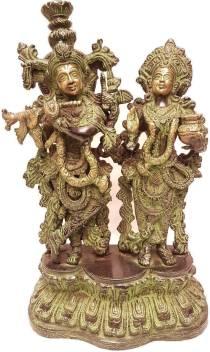 MohanJodero Elegant Brass Lord Shani Dev Statue Antique Black Finish