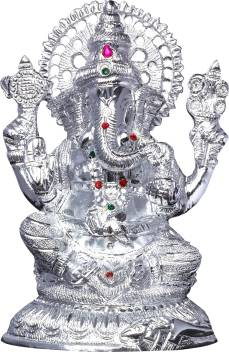 Mangal Handcrafted White Metal Ganesh Idol 8 5 Decorative