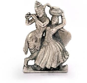 Creative Handicraft Lord Radha Krishna Antique White Metal Idol