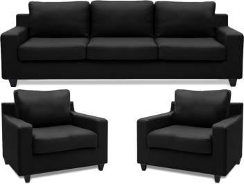 Adorn Homez Oxford Leatherette 3 1 1 Black Sofa Set Price In