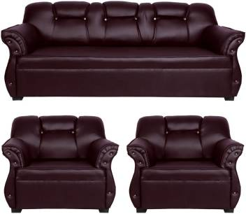 Superb Homestock Leatherette 3 1 1 Brown Sofa Set Cjindustries Chair Design For Home Cjindustriesco