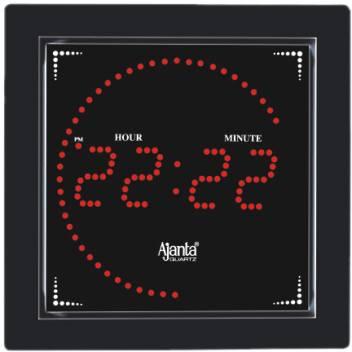 Ajanta Digital Wall Clock Black With Glass