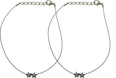 High Trendz Elegant Black Starz Payal For Women And Girls Alloy Anklet(Pack of 2) at flipkart