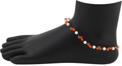 High Trendz Orange Crystalz With White Pearlz Alloy Anklet at flipkart