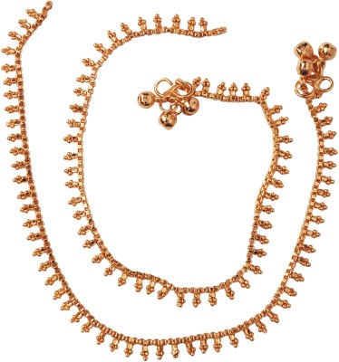 Jewbang Kolkotta Bengal Style Alloy Anklet(Pack of 2) at flipkart