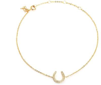 Blinglane Horseshoe Charm Gold Plated Copper Anklet at flipkart