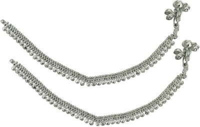 Beadworks German Silver Zinc Anklet(Pack of 2) at flipkart