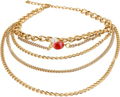 Fayon Multilayer Chain With Pearl Alloy Anklet at flipkart