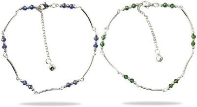Beadworks Metal Anklet for Girls (COMBO-AKL-2-1) Alloy, Glass, Brass Anklet(Pack of 4) at flipkart