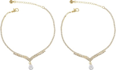 Muchmore Beautiful Dangle Look Fashion For Girls Partywear Jewelry Alloy Anklet(Pack of 2) at flipkart