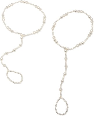 FemNmas Pearl Ring Chain Alloy Toe Anklet(Pack of 2)