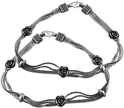 Miska Silver Ethnic Silver Anklet Pack of 2 Miska Silver Anklets